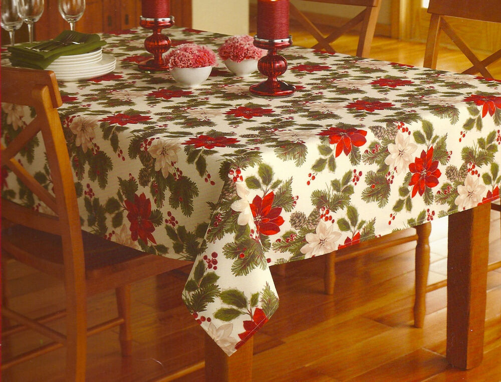 Poinsettia Pine Ivory Red Christmas Holiday Tablecloth