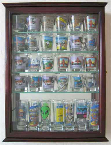 36 Shot Glass Shooter Display Case Cabinet With Door