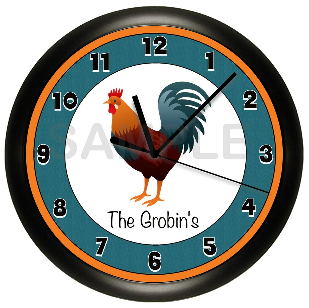 Rooster Wall Clock Country Kitchen Personalized Farm House
