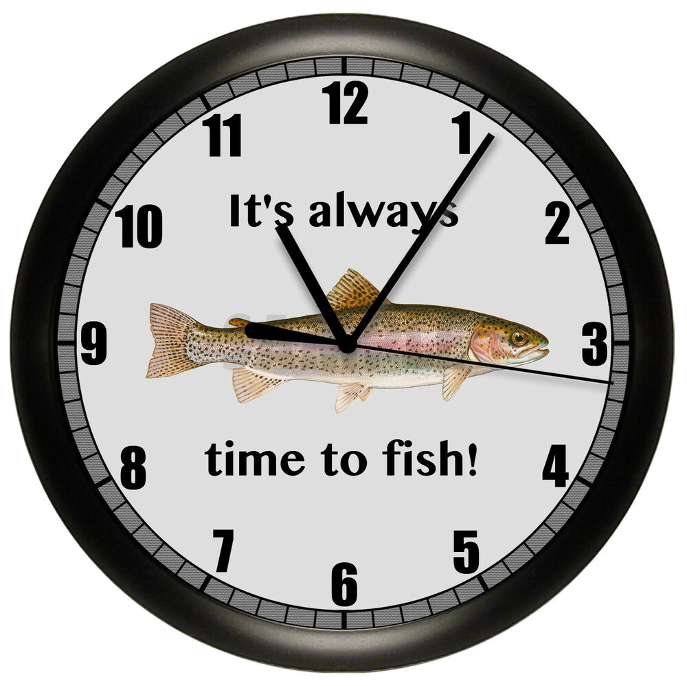 Trout wall clock fishing fisherman fish gift 10 inch bass for Fish wall clock