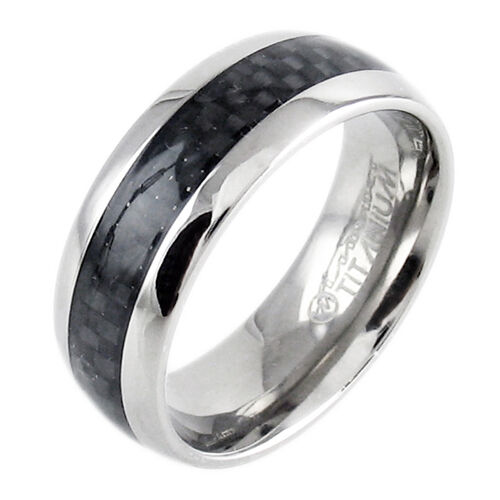 8mm mens titanium traditional black carbon fiber wedding