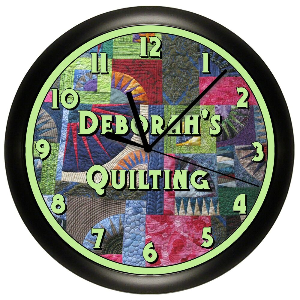 Quilting wall clock sewing room decor gift quilter stitch for Room decor gifts