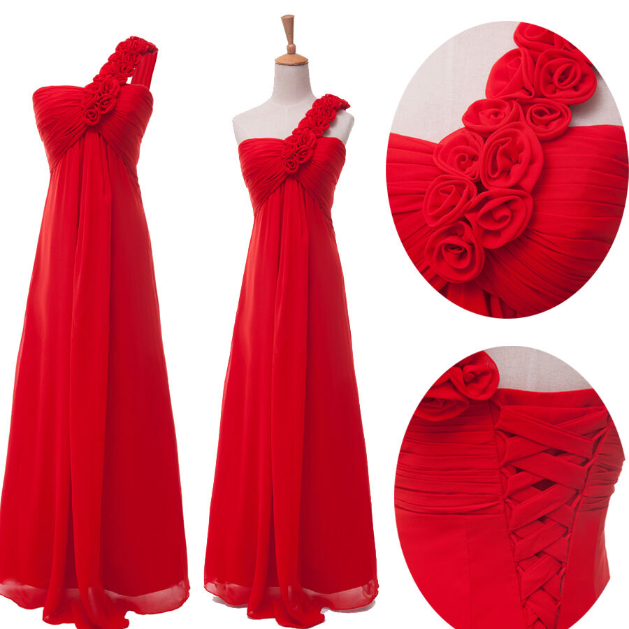 Red womens prom long formal dress evening party gown for Ebay wedding bridesmaid dresses
