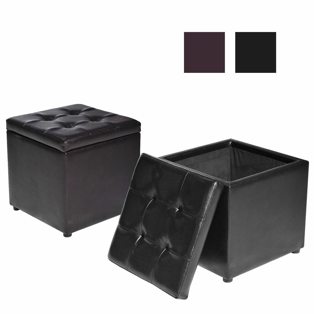 Pu leather square storage ottoman footstool rest seat box for Storage ottoman seat