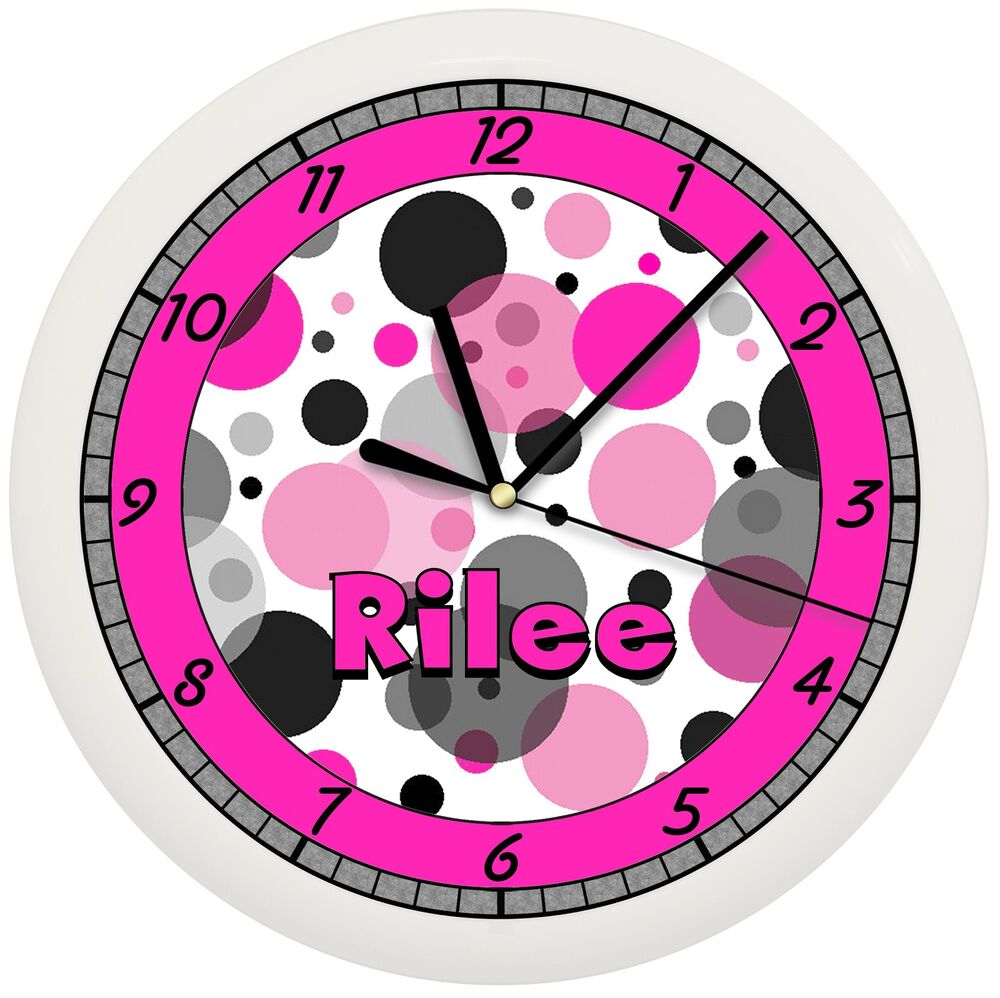 hot pink and black dots wall clock girls bedroom decor