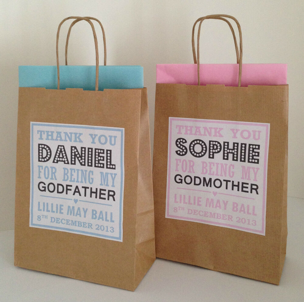 Baby Gift Bags Uk : Personalised brown christening baby shower gift bags