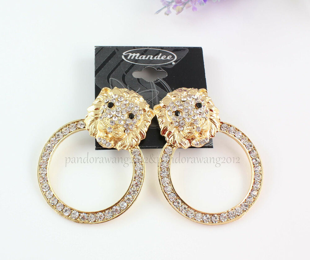 Unique Gold Plated Crystal Animal Large Lion Head Ear Stud