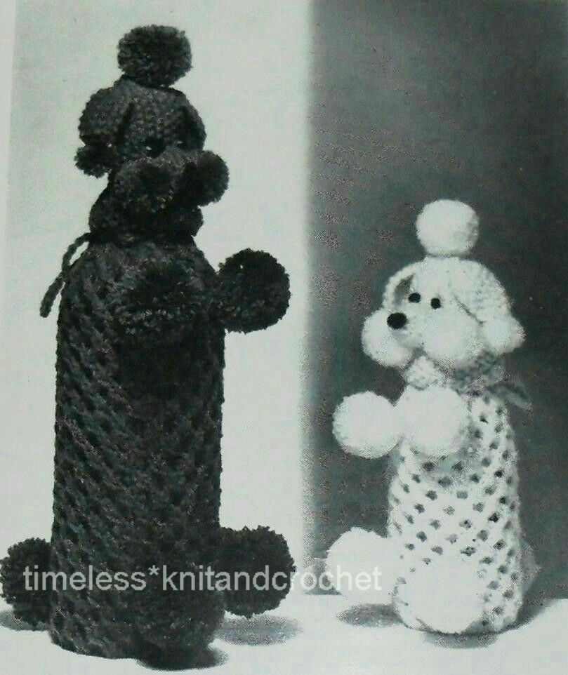 VINTAGE KNITTING PATTERN FOR A POODLE / DOG WINE BOTTLE COVER / - PATTERN ONL...