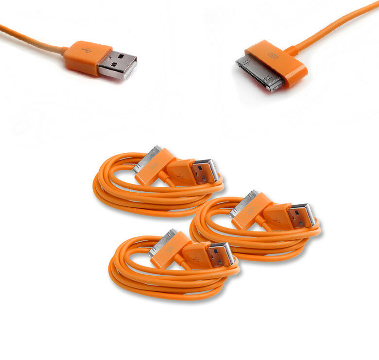 iphone charger cord 3 6ft 30pin usb sync data power charger orange cable cord 11729