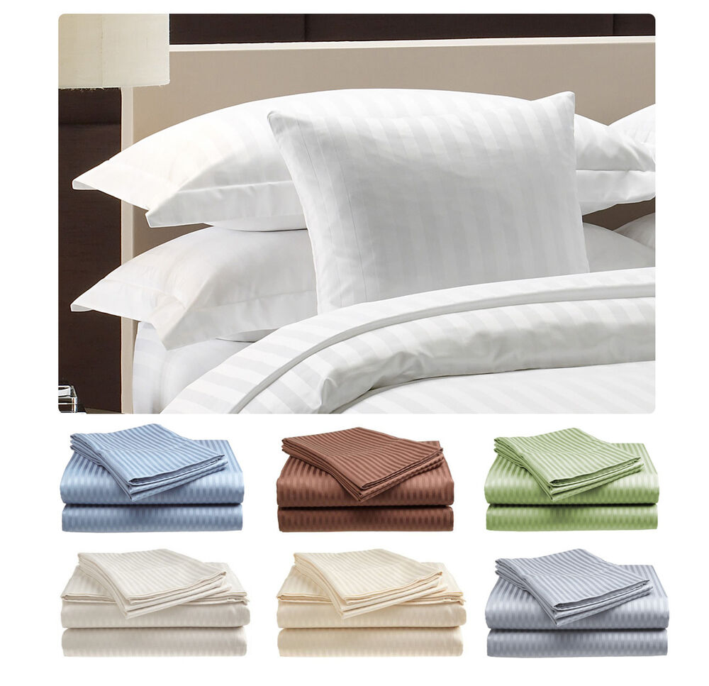 Bon Deluxe Hotel , 300 Thread Count 100% Cotton Sateen Sheet Set Dobby Stripe |  EBay