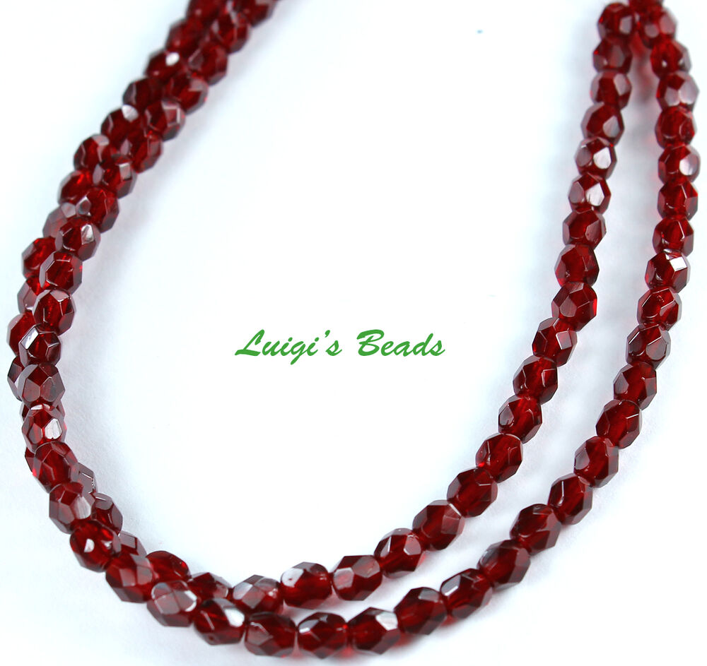 50 ruby firepolished faceted glass 4mm
