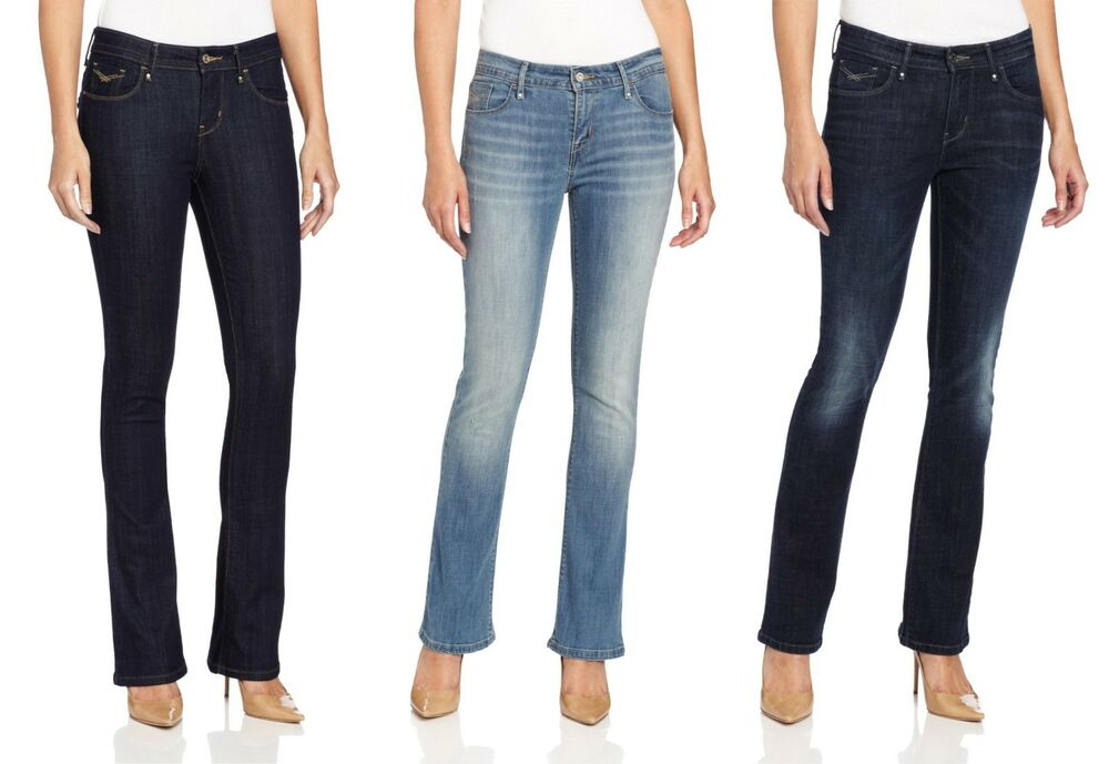 Levis Mid-Rise Skinny Bootcut Jeans Womens Button-Flap Back Pocket Stretch Denim | eBay