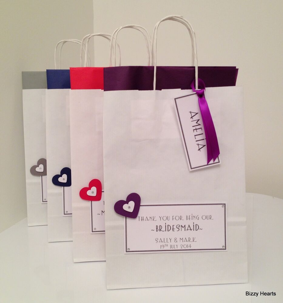 Wedding Paper Gift Bags: PERSONALISED PAPER WEDDING GIFT BAG FAVOUR PARTY- HEARTS