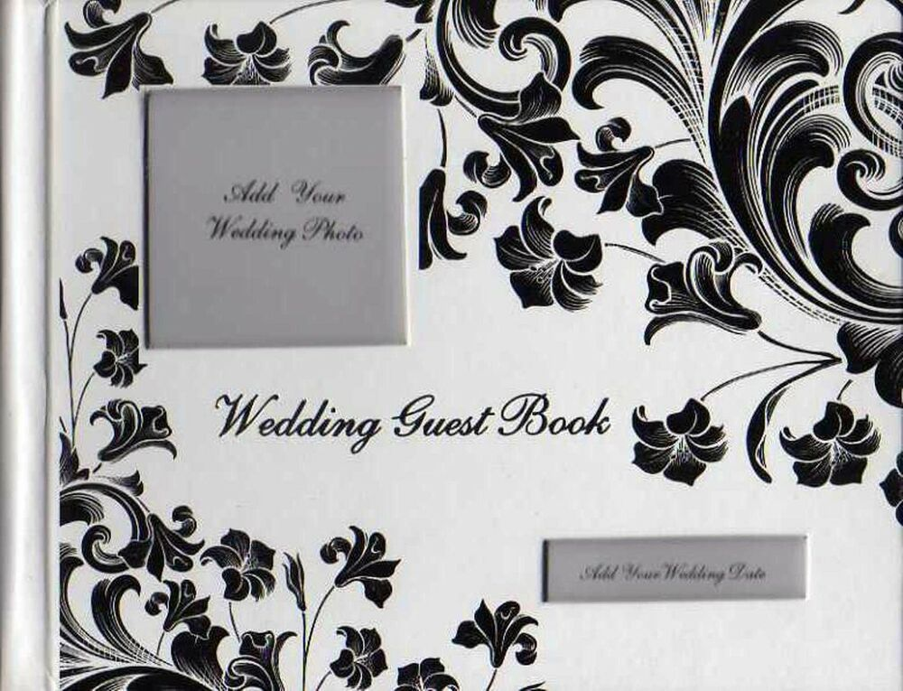 Guest book wedding white black silver floral design photo for Photo wedding guest book