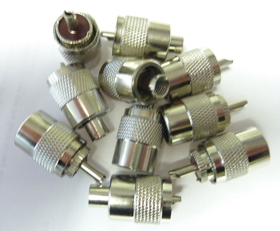10 X Pl259 Uhf Connector Plugs For 7mm Mini 8 Coaxial