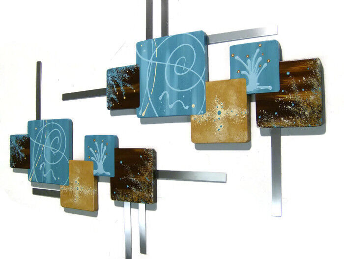 turquoise brown abstract squares wood w metal wall. Black Bedroom Furniture Sets. Home Design Ideas