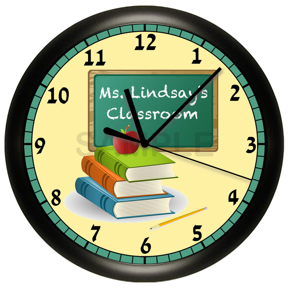 teacher wall clock chalkboard classroom decor gift. Black Bedroom Furniture Sets. Home Design Ideas