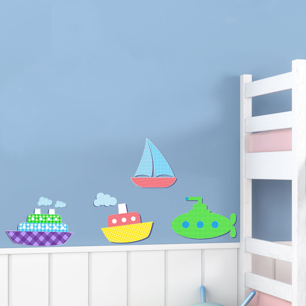 childrens kids bedroom nautical boats wall art stickers boys decal