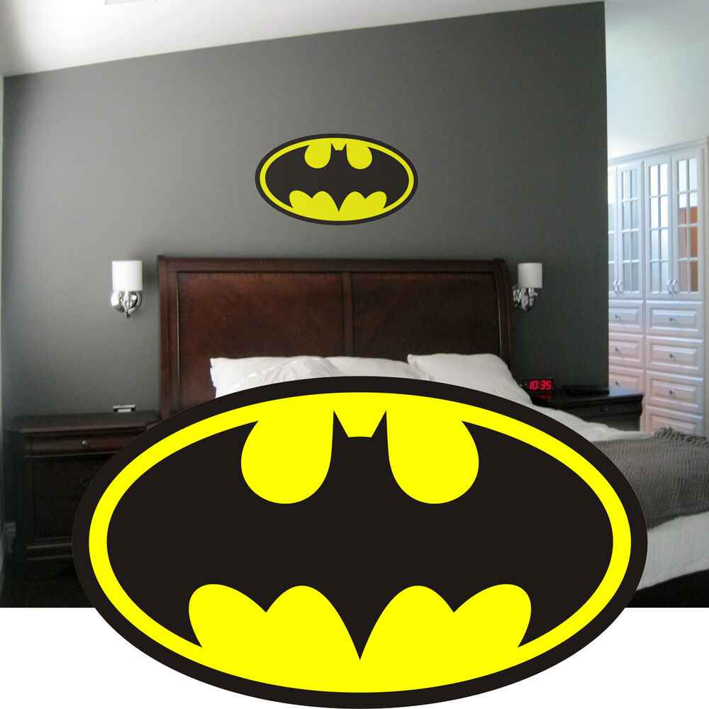 Batman logo wall art sticker decal graphic mural boys for Batman wall mural decal