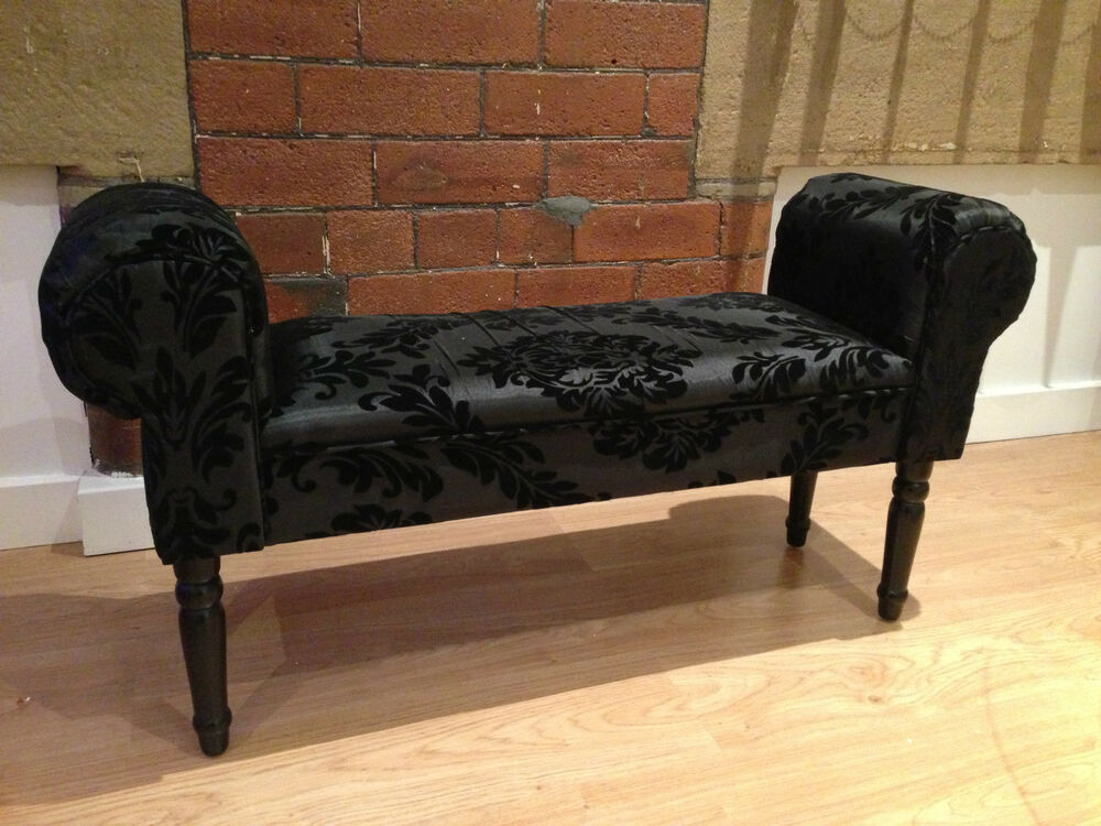 New designer style boudoir damask black chaise longue for Black and white damask chaise lounge