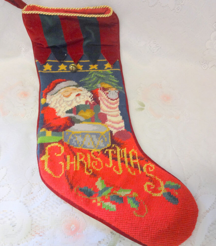Vintage Santa Christmas Handmade Needlepoint Stocking Ebay
