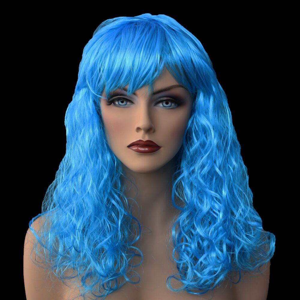 """Anime Girl With Long Curly Hair: 18"""" Long Turquoise Synthetic Curly Wavy Hair Wig For"""