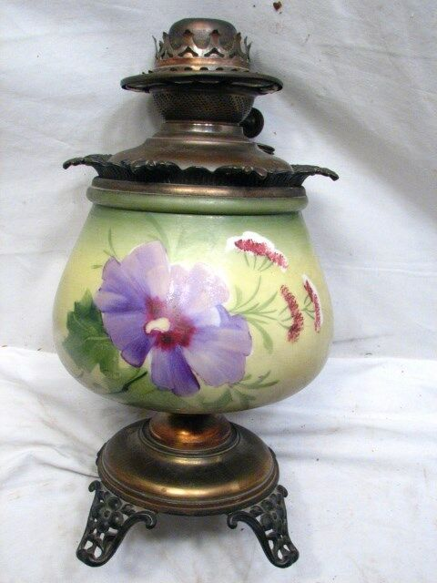 Vintage Table Lamps With Flowers : Antique ornate oil fluid banquet table lamp floral painted