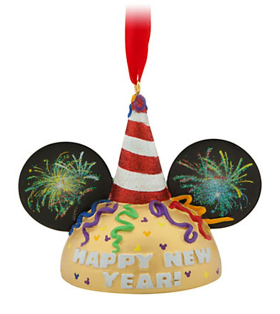 Limited Edition Luxury Christmas Ornaments: New Disney Happy New Year Mickey Ear Hat Ornament Limited
