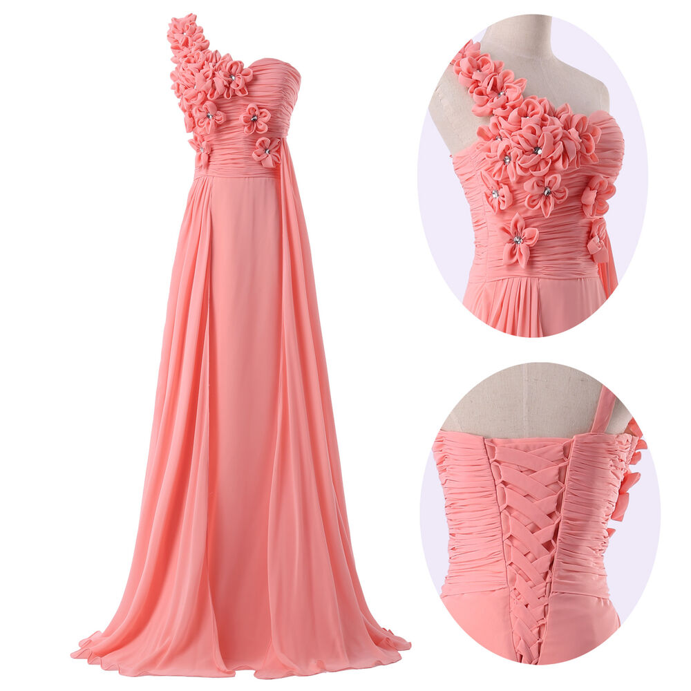 Chiffon evening formal bridesmaid wedding ball gown prom for Dresses for wedding party