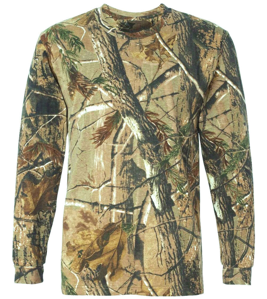 gents long sleeve hunters gun top mens wood tree camouflage t shirt camo fishing ebay. Black Bedroom Furniture Sets. Home Design Ideas
