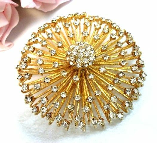 Vintage WARNER Costume Jewelry Rhinestone Brooch Pin Spray