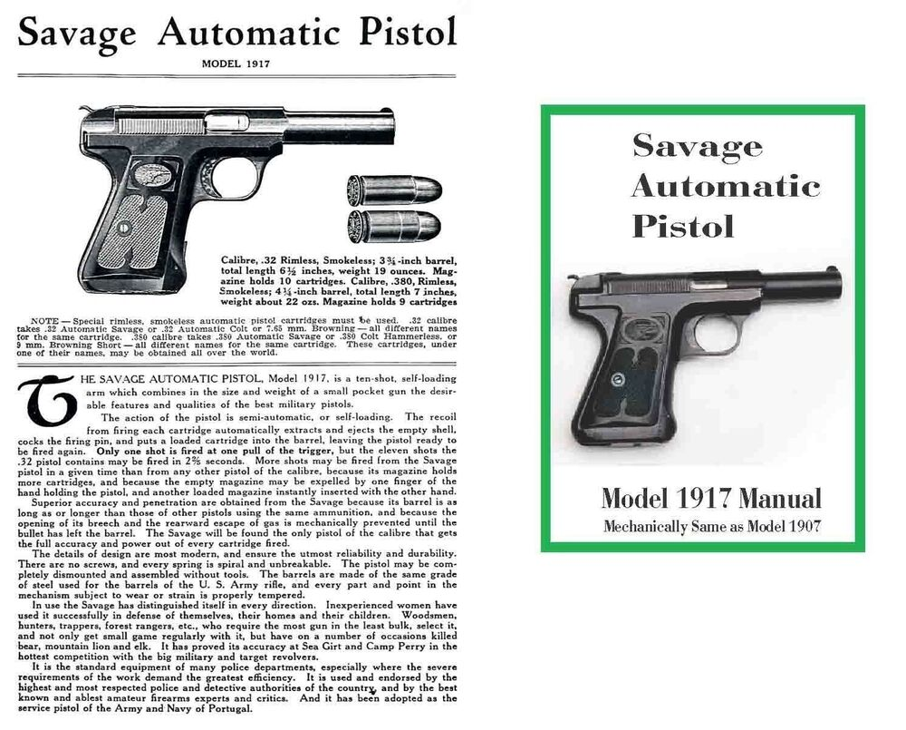 Savage Model 1907 1917 Automatic Pistol Manual Ebay