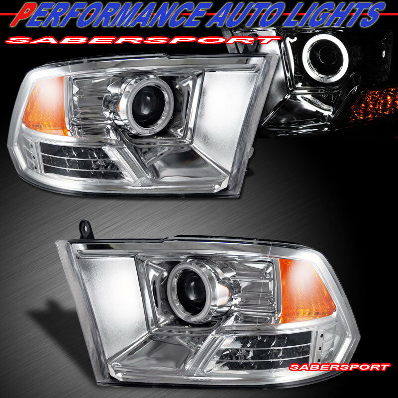 2009 2012 dodge ram 1500 ccfl halo projector headlights w. Black Bedroom Furniture Sets. Home Design Ideas
