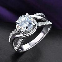 Round Crystal Twisted Ring Bride Wedding Gift 18K White Gold GP R236
