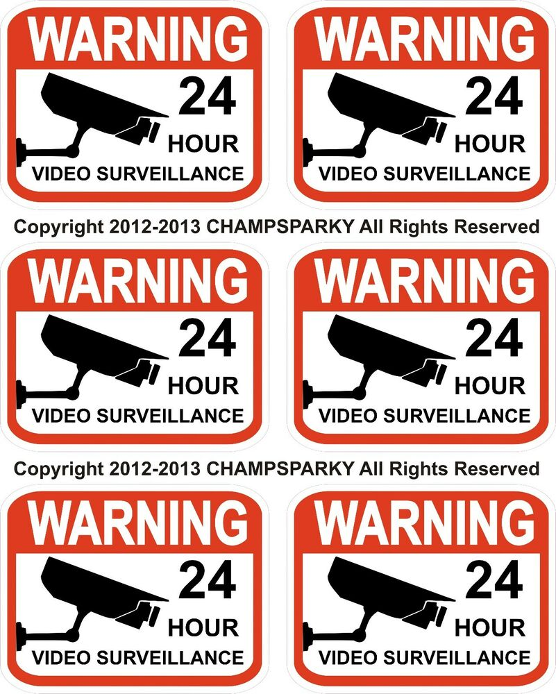 Video Surveillance Security Decals Lot Of 6 Warning