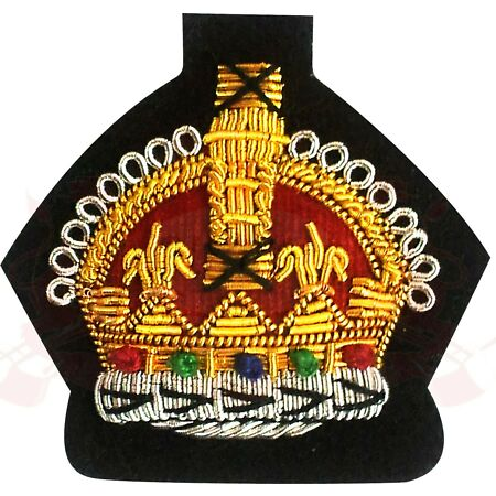 img-Kings Crown Gold Hand Embroidered Bullion Wire Badge