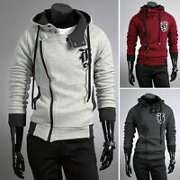 Korean Stylish Mens Slim Fit Hooded Jacket Sweatshirts Coat Hoodie TOP S M L XL