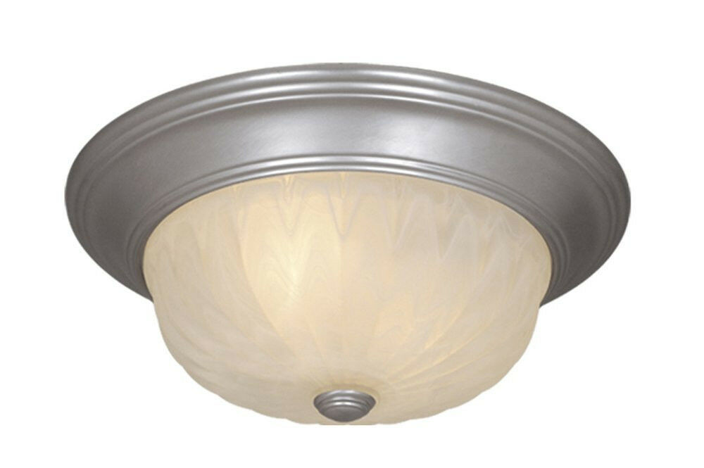 Sea Gull Lighting 44236 962 2 Light Brushed Nickel: Brushed Nickel And Alabaster Glass 2 Light Ceiling Fixture