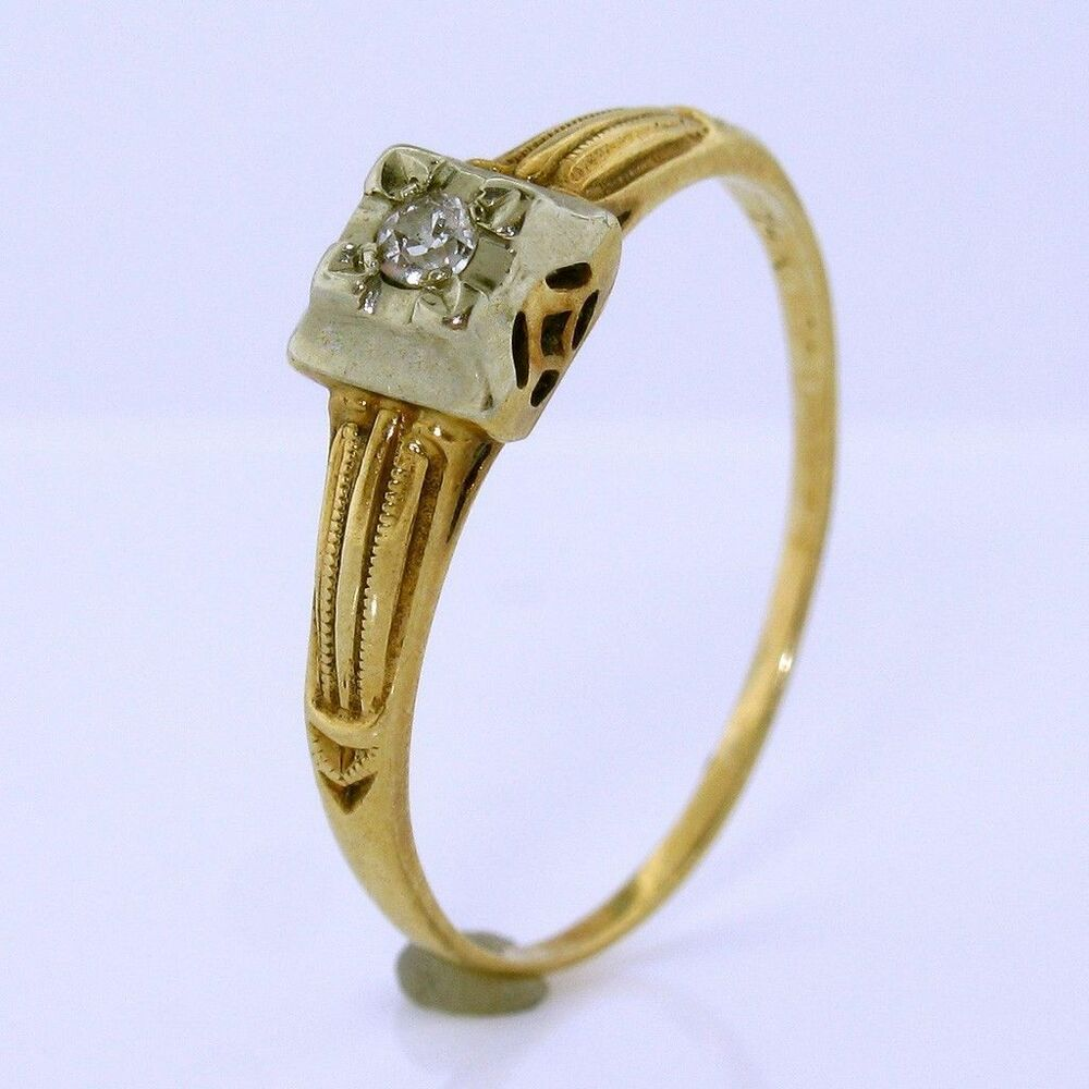 antique edwardian engagement ring in 14k white and