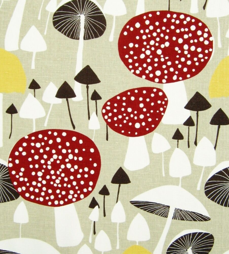 scandinavian fabric vtg retro mushroom DIY cushion curtains 50s 60s ...
