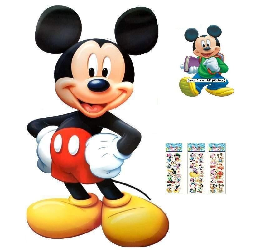 disney mickey mouse jumbo size wall sticker 33 95x56cm 4 bonus stickers ebay. Black Bedroom Furniture Sets. Home Design Ideas