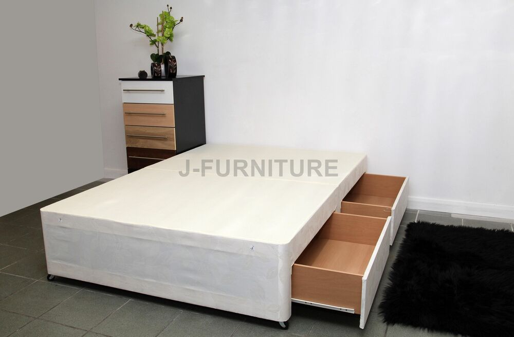 4ft6 double divan bed base in black cream or white with for Double divan bed with four drawers