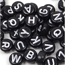 7mm Black White Acrylic Coin Disc Flat Round Letter Alphabet Beads spacer (100)