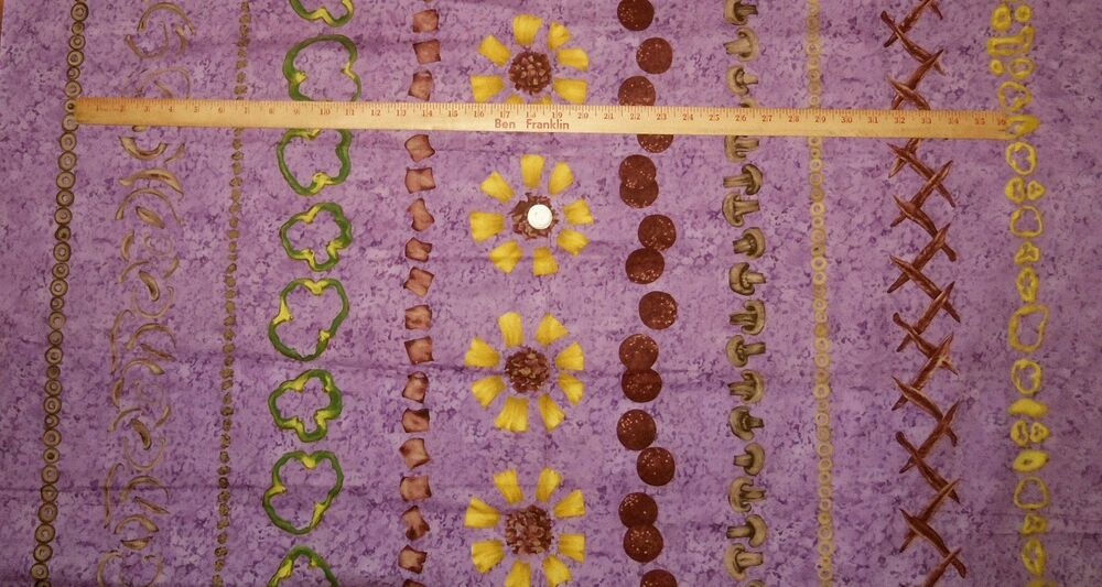 Pizza Party Ami Simms Troy Riverwoods Purple Background Cotton Fabric ...