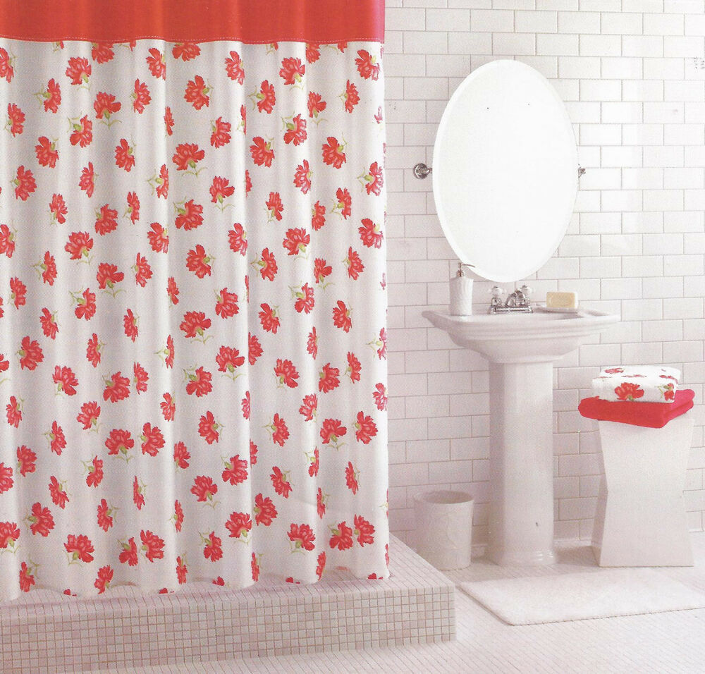 MARTHA STEWART LE PETITE FLEUR CORAL RED WHITE FLORAL SHOWER CURTAIN
