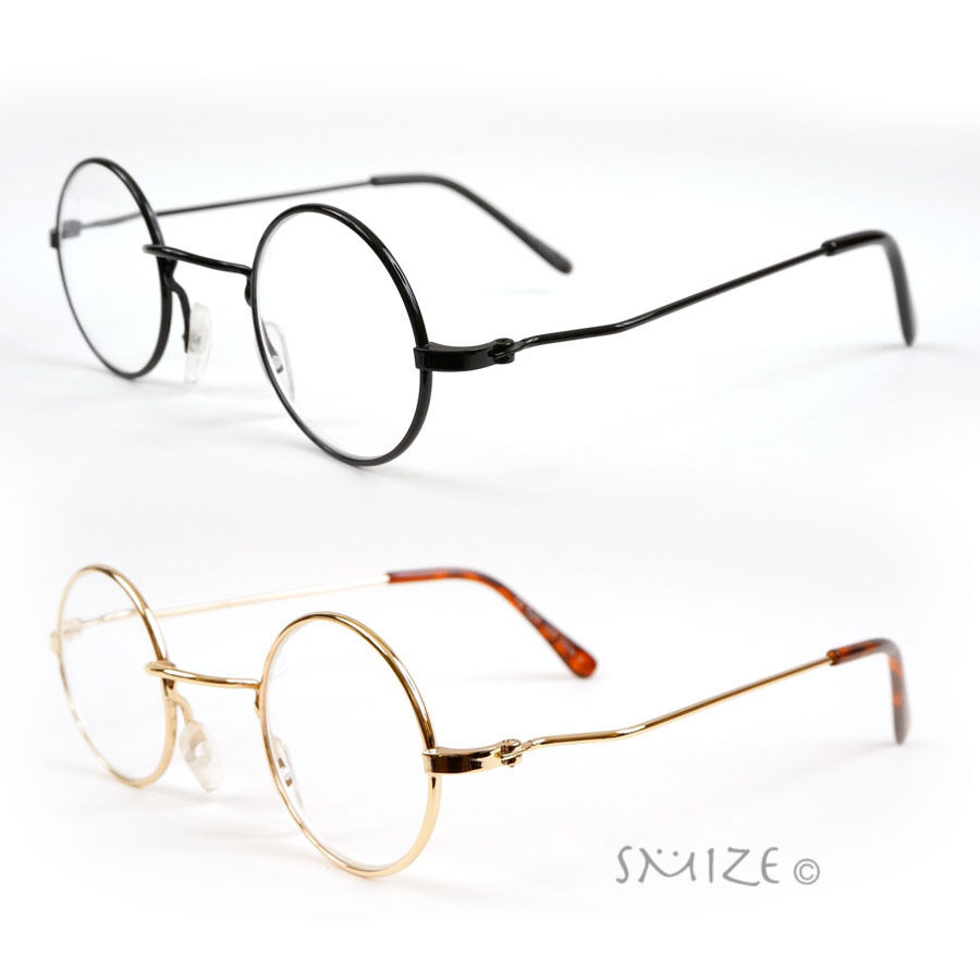 Retro Round Metal Reading Glasses Black Gold Lennon Style ...