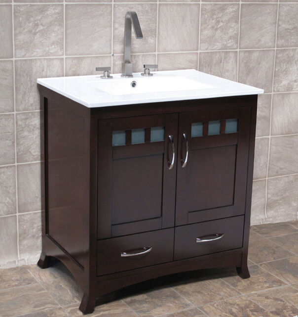 30 bathroom vanity cabinet ceramic top with integrated sink faucet tr30 ct ebay