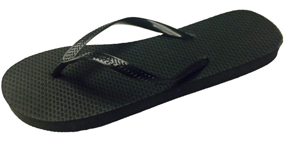 Set your toes free this summer with black rubber flip-flops! Comfortable slip-on flip-flops have rubber soles and are ideal for care packages, and resale in gift shops, beach shops and resorts. Ladies' Black Rubber Flip-Flops come assorted among sizes small (5/6), .