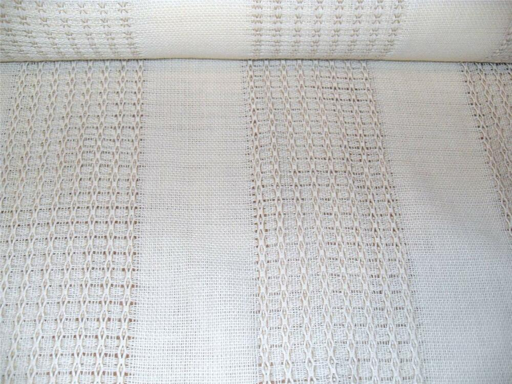 White Amp Soft Brown Detail Open Weave New Drapery Fabric