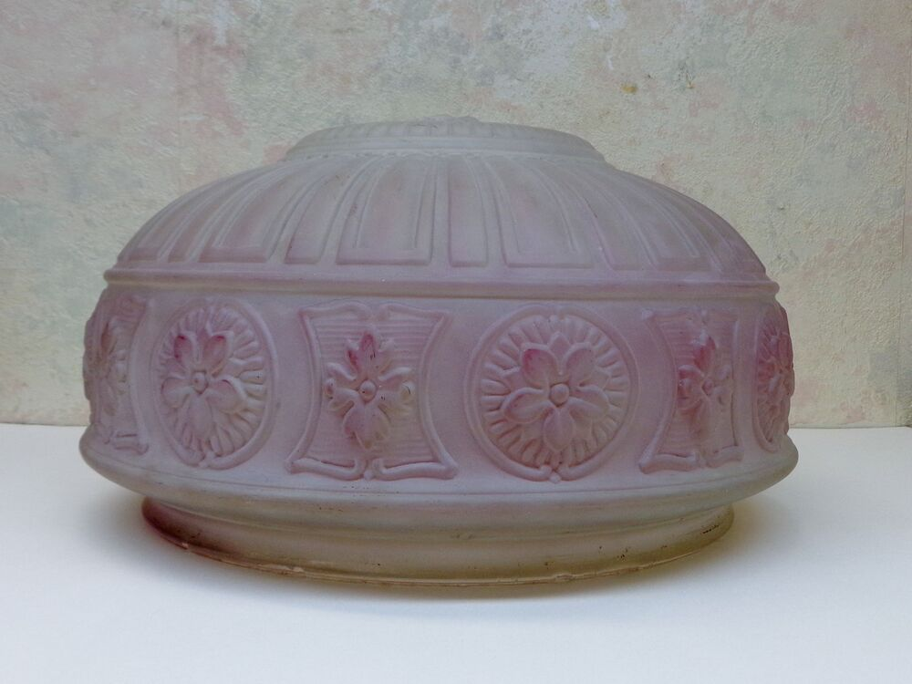 Antique Victorian Lavender Purple Frosted Glass Lamp Light